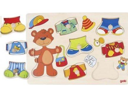PUZZLE EN BOIS OURSON A HABILLER 8 PIECES - GOKI - PUZZLE A ENCASTRER AVEC BOUTONS - 57584