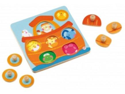PUZZLE EN BOIS SURPRISE ARCHE DE NOE - 6 PIECES - SEVI - PUZZLE A ENCASTRER - PUZZLE AVEC BOUTONS