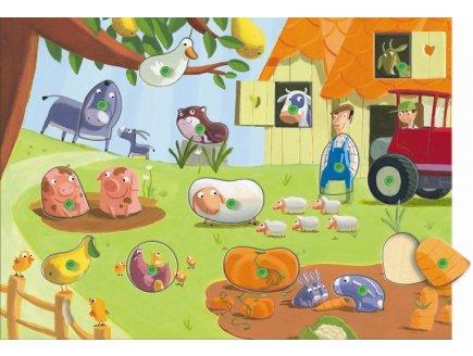 PUZZLE INTERCHANGEABLE EN BOIS POILS ET PLUMES 12 PIECES - DJECO - PUZZLE A ENCASTRER AVEC BOUTONS - DJ01518