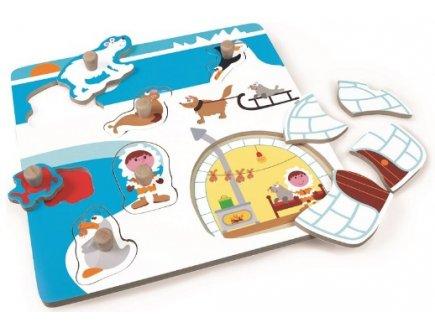 PUZZLE MIXTE ESQUIMAU - 2 EN 1 - 10 PIECES - SCRATCH - PUZZLE A ENCASTRER - 6181051