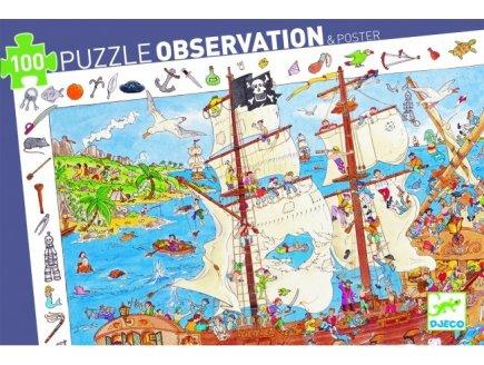 PUZZLE OBSERVATION LES PIRATES 100 PIECES - DJECO - DJ07506