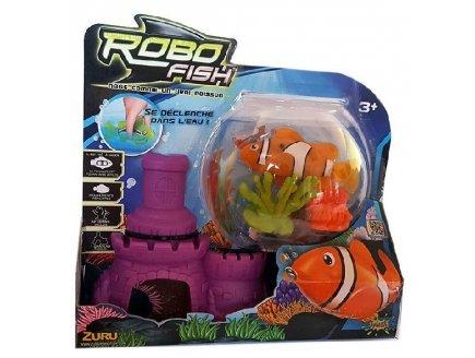 SET ROBO FISH : POISSON ORANGE ET BLANC AVEC CHATEAU + 2 CORAUX - KIT DE DECORATION - POISSON CLOWN - 31319G