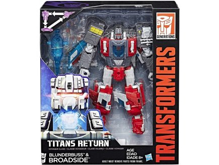 TRANSFORMERS GENERATIONS TITANS RETURN BLUNDERBUSS & BROADSIDE CLASSE VOYAGEUR - ROBOT TRANSFORMABLE 3 EN 1 - HASBRO - C0277