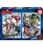 2 PUZZLES AVENGERS : HULK CAPTAIN AMERICA IRON MAN 500 PIECES - COLLECTION SUPER HEROS - EDUCA - 17994