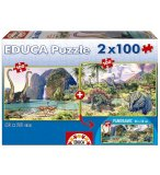 2 PUZZLES DINOSAURE : DINO WORLD 100 PIECES - EDUCA - 15620