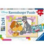 2 PUZZLES LES CADEAUX DE LA BELLE ET LE CLOCHARD / 101 DALMATIENS SOUS LA PLUIE 24 PIECES - RAVENSBURGER - 050871