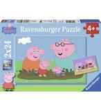 2 PUZZLES PEPPA PIG EN PROMENADE ET LE GOUTER 24 PIECES - RAVENSBURGER - 090822