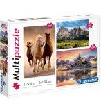 3 PUZZLES : MONTAGNE CHAINE DES ALPES  500 PIECES + MONT SAINT-MICHEL + CHEVAUX AU GALOP 2 X 1000 PIECES - CLEMENTONI 08107