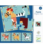 4 PUZZLES EN BOIS ANIMAUX RIGOLO N'CO - 16 PIECES - DJECO - DJ01556