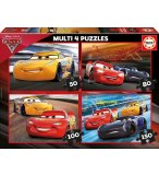 4 PUZZLES ENFANT CARS 3 FLASH MCQUEEN ET JACKSON STORM 50 - 80 - 100 - 150 PIECES - EDUCA - 17179