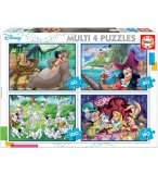 4 PUZZLES ENFANT DISNEY : 101 DALMATIENS - LIVRE DE LA JUNGLE - PETER PAN - ALICE  50 - 80 - 100 - 150 PIECES - EDUCA - 18105