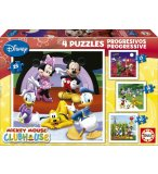 4 PUZZLES PROGRESSIFS MICKEY MOUSE 12 - 16 - 20 - 25 PIECES - EDUCA - 15288