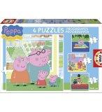 4 PUZZLES PROGRESSIFS : PEPPA LE COCHON / PIG 6 - 9 - 12 - 16 PIECES - EDUCA - 15918
