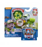PAT PATROUILLE ROCKY AVEC SAC A DOS ET BADGE - FIGURINE CHIEN - PAW PATROL - SPIN MASTER - 20067338