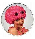 PERRUQUE POP AFRO ROSE COURTE BOUCLEE ADULTE - SOIREE DISCO, CARNAVAL