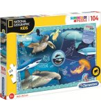 PUZZLE ANIMAUX MARINS : TORTUE REQUIN MEDUSE - 104 PIECES - COLLECTION NATIONAL GEOGRAPHIC - CLEMENTONI - 27141