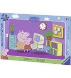 PUZZLE AVEC CADRE - PEPPA PIG ET MAMAN PIG JOUENT SUR L'ORDINATEUR 15 PIECES - RAVENSBURGER - 06123