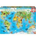PUZZLE CARTE DU MONDE ANIMAUX 150 PIECES - COLLECTION MAPPEMONDE / GEOGRAPHIE - EDUCA - 18115