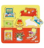 PUZZLE EN BOIS LA MAISON : LE SALON 8 PIECES - GOKI - PUZZLE A ENCASTRER AVEC BOUTONS -  57571