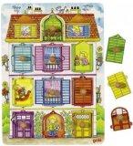 PUZZLE EN BOIS LA VILLA 10 PIECES - GOKI - PUZZLE A ENCASTRER AVEC BOUTONS - 57598