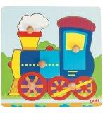 PUZZLE EN BOIS LE TRAIN 5 PIECES - GOKI - PUZZLE A ENCASTRER AVEC BOUTONS - 57514C