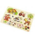 PUZZLE EN BOIS LES ANIMAUX DE LA FERME 9 PIECES - GOKI - PUZZLE A ENCASTRER AVEC BOUTONS - 57995
