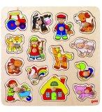 PUZZLE EN BOIS LES ANIMAUX DE LA FERME ET LE FERMIER 14 PIECES - GOKI - PUZZLE A ENCASTRER AVEC BOUTONS - 57575