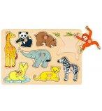PUZZLE EN BOIS LES ANIMAUX SAUVAGES 8 PIECES - GOKI - PUZZLE A ENCASTRER AVEC BOUTONS - 57906