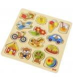 PUZZLE EN BOIS LES JOUETS 14 PIECES - GOKI - PUZZLE A ENCASTRER AVEC BOUTONS - 57576