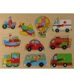 PUZZLE EN BOIS LES TRANSPORTS 10 PIECES - TOYS - PUZZLE A ENCASTRER AVEC BOUTONS - 610268B