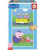 PUZZLE EN BOIS PEPPA LE COCHON / PIG 2 X 9 PIECES - EDUCA - 17156