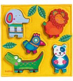 PUZZLE EN FEUTRINE ET BOIS HAPPY JUNGLE - 5 PIECES - DJECO - DJ01041