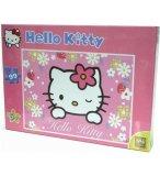 PUZZLE ENFANT HELLO KITTY AVEC FLEURS BLANCHES ET FRAISES CAHTY 99 PIECES - SES
