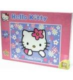 PUZZLE ENFANT HELLO KITTY BLEU AVEC DES PETITES FLEURS BLANCHES 99 PIECES - SES
