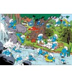 PUZZLE LES SCHTROUMPFS PIQUE-NIQUENT AU BORD DE LA RIVIERE 36 PIECES - DUJARDIN - 8223