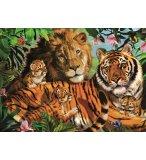 PUZZLE LION AVEC TIGRE ET BEBE TIGRE 1000 PIECES - COLLECTION ANIMAUX SAUVAGES - JUMBO - 18338