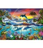 PUZZLE MONDE SOUS MARIN : DAUPHIN TORTUE ORQUE 300 PIECES - COLLECTION OCEAN - CASTORLAND