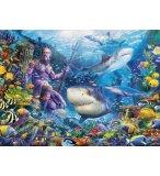 PUZZLE OCEAN LES REQUINS LE ROI DE LA MER DAUPHINS SUR LE RECIF DE CORAIL 500 PIECES - RAVENSBURGER - 150397