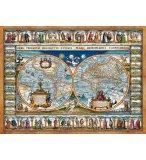 PUZZLE VIEILLE CARTE DU MONDE ILLUSTREE 1639 2000 PIECES - COLLECTION HISTOIRE ET GEOGRAPHIE
