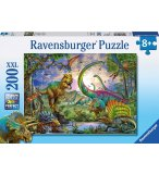 PUZZLE XXL LE ROYAUME DES DINOSAURES 200 PIECES - COLLECTION ANIMAUX PREHISTORIQUE - RAVENSBURGER - 127184