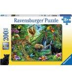 PUZZLE XXL LES ANIMAUX SAUVAGES : SINGE ELEPHANT PERROQUET LEOPARD - 200 PIECES - RAVENSBURGER - 126606