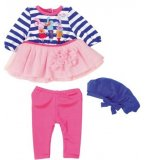 TENUE 2 PIECES : LEGGING ROSE ET ROBE LAPIN + CHAPEAU - BABY BORN - HABIT POUPEE 43 CM - ZAPF (ZA44)