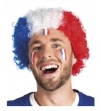 PERRUQUE AFRO TRICOLORE FRANCE BLEU, BLANC, ROUGE ADULTE - SUPPORTER, FOOTBALL