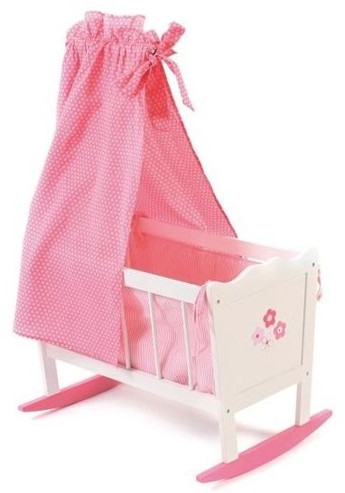jouet lit bercelonnette en bois blanc rose poupon nursery. Black Bedroom Furniture Sets. Home Design Ideas