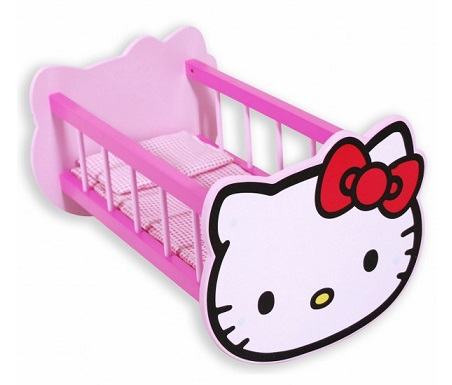 lit bascule hello kitty pour poup e 36 cm jouet bois. Black Bedroom Furniture Sets. Home Design Ideas
