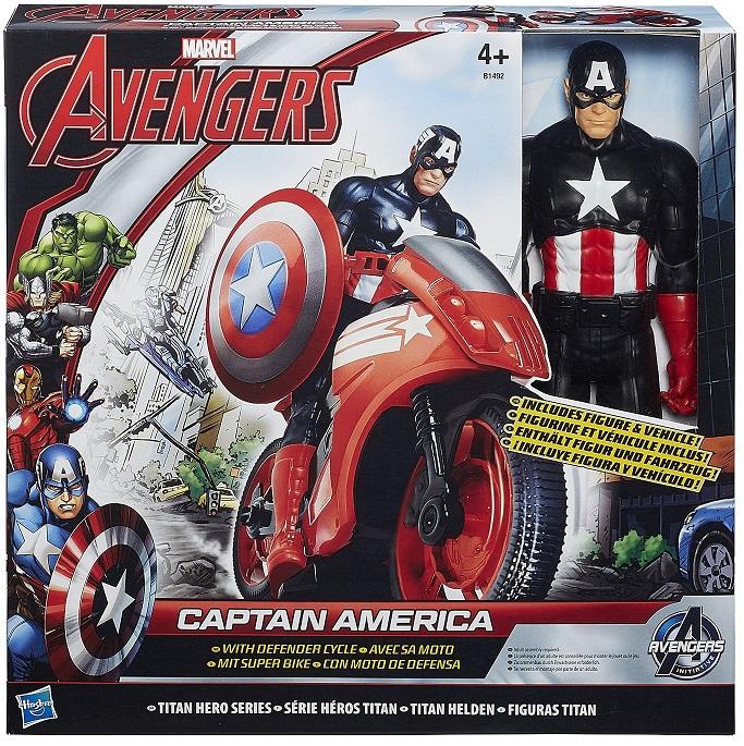 hasbro b1492 captain america avec sa moto figurine avengers 30cm. Black Bedroom Furniture Sets. Home Design Ideas