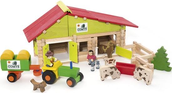 Ferme en bois avec accessoires jeu de construction 5 ans for Jeu de construction en bois 4 ans
