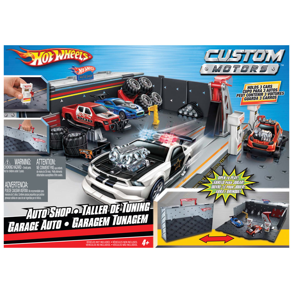 Mattel t0235 gara auto transportable hot wheels custom motors - Jeu de garage de voiture ...