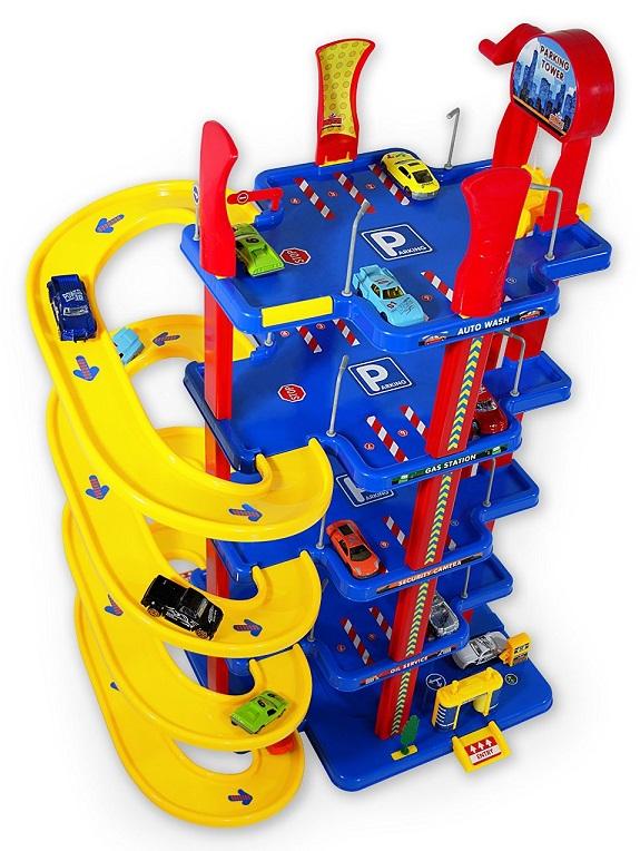 Jouet tour garage parking service 5 niveaux bleu jaune - Grand garage voiture jouet ...