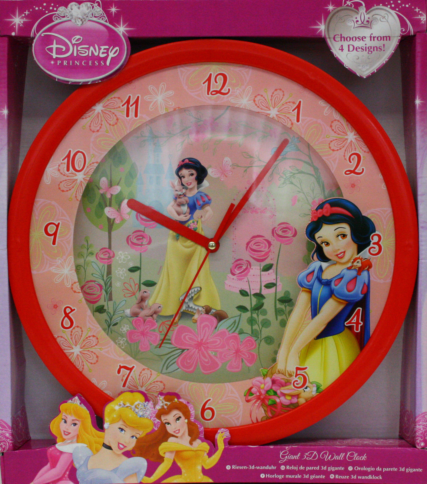 horloge murale blanche neige 3d g ante montre disney chambre. Black Bedroom Furniture Sets. Home Design Ideas